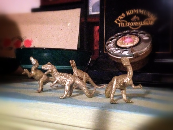DIY gold dinosaurs.  A cute and slightly dorky detail in our apartment.